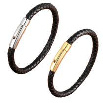 Pulseira Masculino Trançado Aço Inox Bracelete  Social Lisa - Maredy