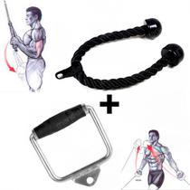 Puxador Estribo Macico com Pegada + Puxador Triceps em Corda  Liveup -