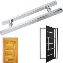 Puxador Porta Aco Inox 60cm Duplo Pivotante Porta Casa Vidro - Braslu