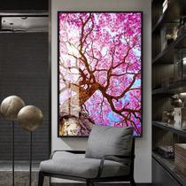 Quadro 150x100cm Flores Cerejeiras Rosas Árvore Vidro Cristal e Moldura Preta Decorativo Interiores - Oppen House -