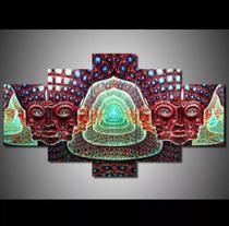 Quadro 5 Peças Mosaico Alex Grey Psicodelico Cores Mdf 6mm - Neyrad