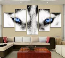 Quadro 5 Peças Mosaico Lobo Olho Azul Ultrahd Mdf 6mm - Neyrad