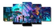 Quadro 5 Peças Mosaico Rick E Morty Floresta 4k - Premium Art Decoracoes
