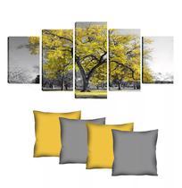 Quadro 70x150cm em Impressão Digital + 4 capas de almofadas - Árvore Amarela - Atelier Valverde