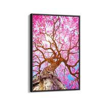 Quadro 90x60cm Flores Cerejeiras Rosas Árvore Canvas Moldura Flutuante Preta - Oppen house