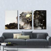 Quadro Abstrato Decorativo Mármore Cinza - Arte Quadro