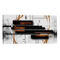 Quadro Abstrato Preto e Branco 55x100cm - Uniart
