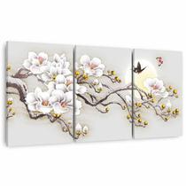 Quadro Abstrato Ramo Flores Brancas Artístico em Canvas Mosaico 3 Peças - Framez