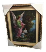 Quadro Anjo Da Guarda 50x40cm Paspatur Resina Sobre Estampa - Mãe Rainha