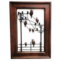 Quadro Artesanal Ferro E Madeira Rústico Sala Pássaros 70 V - Libertas Rosas Artesanato