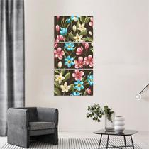 Quadro Artístico Floral decorativo Mosaico Vertical 3 Peças - Loja wall frame
