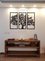 Quadro Árvore Da Vida 3 Peças Madeira Preta (padrão) +brinde - Inventto Studio