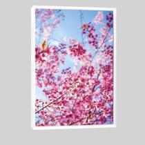 Quadro Árvore De Cerejeira Vertical 95x63cm Moldura Branca - Decora Online