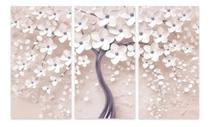 Quadro Árvore Flores Cerejeira Para Sala Apê Mosaico 3 Peças - Neyrad