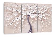 Quadro Árvore Flores Cerejeira Para Sala Apê Mosaico 3 Peças - Wall Frame