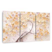 Quadro Árvore Flores Cerejeira Tons de Lilás Violeta em Tecido - Framez