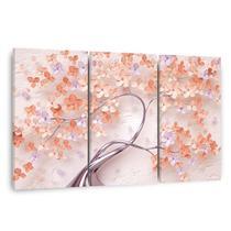 Quadro Árvore Flores Cerejeira Tons de Rosa Salmão em Tecido - Framez