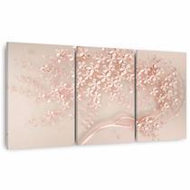 Quadro Árvore Flores Cerejeiras Moderna Para Sala Quarto 3 Peças - Framez