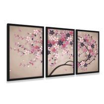 Quadro Árvore Flores Cerejeiras Mosaico Com Moldura 3 Peças - Framez