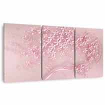 Quadro Árvore Flores Cerejeiras Rose Moderna Para Sala Quarto 3 Peças - Framez