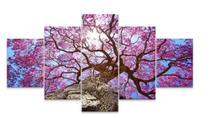 Quadro Arvore Rosa Cerejeira Linda 5 Peças Mosaico Mdf 6mm - Paradecoração