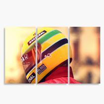 Quadro Ayrton Senna decorativo Mosaico 3 Peças - Neyrad
