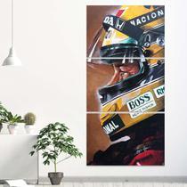 Quadro Ayrton Senna Mosaico 60x120  Vertical Formula 1 - Iquadros