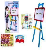 Quadro Branco Magnetico E Lousa Infantil Com 42 Peças Kit 3 Em 1 Com Cavalete Pedestal Desenho - Makeda