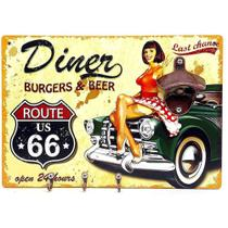 Quadro c/Abridor de Garrafas Magnético com Ganchos Route 66 Retrô Rota 66 Diner - Joy