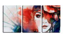 Quadro canvas 30x66 arte mulher painel - Crie Life