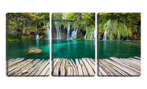 Quadro canvas 45x96 deck de madeira retrô no lago - Crie Life