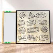 Quadro canvas premium 40x40 - carimbos passaporte viagem 2 - Decora Prime