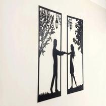 Quadro Casal Cabeceira Parceira Cama Parede Amor Decorativo Quarto Sala Enfeite escultura de Parede - Mongarte Decor