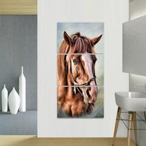 Quadro Cavalo Artístico Conjunto 3 Peças Vertical - Loja Wall Frame