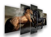 Quadro Cavalos Moderno 5 Peças Mosaico Mdf6mm - Olph Decor