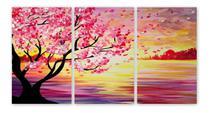Quadro Cerejeira Pôr Do Sol Arvore Rosa Mar Flores Canvas - Plimshop