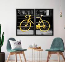 Quadro com Moldura Chanfrada Bicicleta Amarela - Love Decor