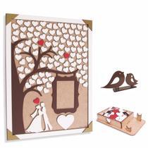 Quadro de Assinaturas Casamento - Árvore Porta Fotos - Noivos e Coração - Maxdecor Decorações