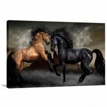 Quadro de Cavalo Preto e Marrom Sala Quarto Escritório - Wall Frame