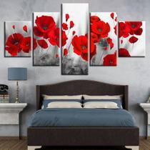 Quadro de decorativo mosaico flores vermelhas - Collor Graf Distribuidora