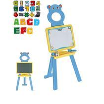 Quadro de desenho magnetico e lousa infantil com cavalete e 52 letras e numeros pedestal kit didatic - Makeda