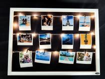 Quadro de fotos varal 40x55cm + 12 Fotos Polaroids + LED - Tagprinter