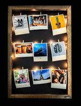 Quadro de fotos varal 45x30cm + pregadores + LED - Tagprinter
