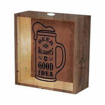 Quadro de Madeira e Vidro para Tampinhas de Cerveja - Decorafast