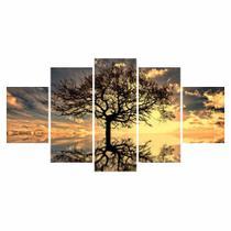 Quadro Decorativo 115x60cm Sala Quarto Arvore Da Vida Por do Sol - Quadros barato