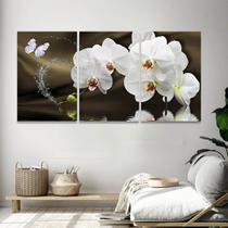 Quadro Decorativo 120x60 Mosaico Flores Orquídea Branca - Iquadros