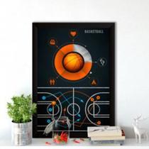 Quadro decorativo 30x20 Plano de jogo Basquete - Neyrad