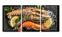 Quadro Decorativo 30x66 três camarões com limão e gelo - Crie Life