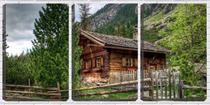 Quadro Decorativo 45x96 casa de madeira ao pé da montanha - Crie Life
