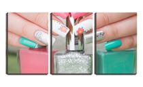 Quadro Decorativo 45x96 unhas coloridas manicure - Crie Life